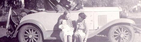 In the day, vintage car and family